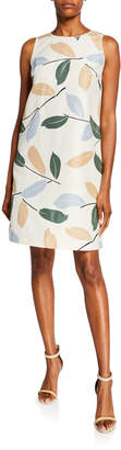 Lafayette 148 New York Leaf-Print Sleeveless Dress