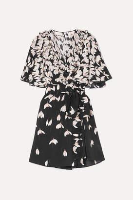 Valentino Ruffled Floral-print Silk Crepe De Chine Mini Wrap Dress - Black