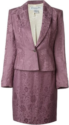 Christian Dior Pre-Owned floral jacquard skirt suit