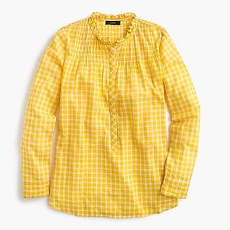 J.Crew Tall ruffle classic popover shirt in mini windowpane