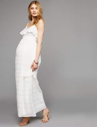 A Pea in the Pod Babydoll Maternity Maxi Dress