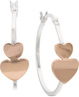 """Giani Bernini Small Two-Tone Heart Hoop Earrings in Sterling Silver and 18k Rose Gold-Plate, 1"""""""
