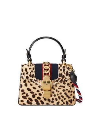 Gucci Sylvie Mini Calf-Hair Satchel Bag, Neutral