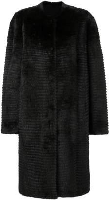 Liska oversized fur-trim coat