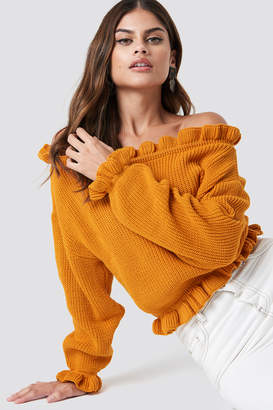Glamorous Off Shoulder Jumper Golden Yellow