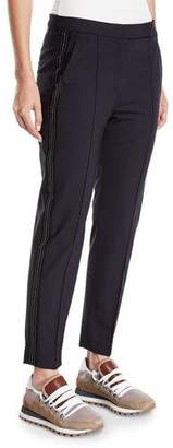 Brunello Cucinelli Lightweight Wool Narrow Tuxedo Pants