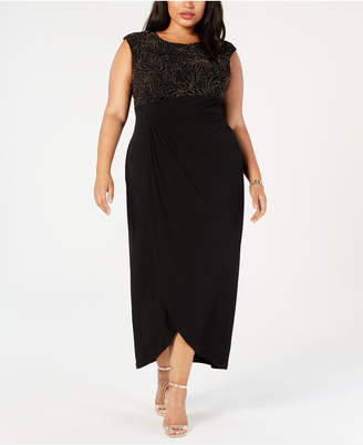 Connected Plus Size Embellished Draped Gown