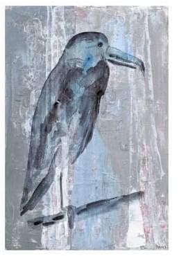 Parvez Taj Blue-Grey Bird Painting Print on Wrapped Canvas