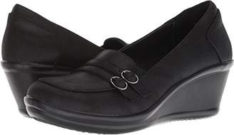 Skechers Women's Rumblers-Frilly-Wedge Heeled Dressy Casual Double Buckle Loafer Pump