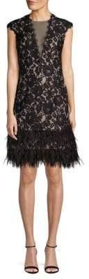 Aidan Mattox Feather-Trimmed Lace Sheath Dress