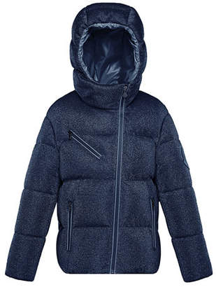 Moncler Taurua Metallic Asymmetric-Zip Quilted Jacket, Size 4-6