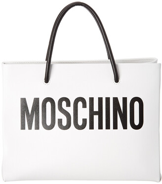 Moschino Logo Print Leather Square Tote