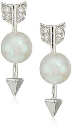 Bella Pearl Fancy Sterling Silver Bow Shaped Pearl Drop Earrings