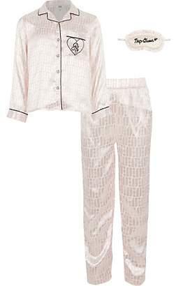 River Island Girls boxed pink RI monogram pyjama set