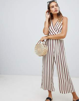New Look Stripe V Neck Button Jumpsuit