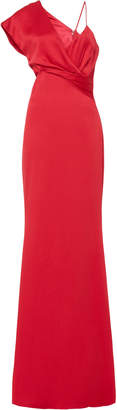 Cushnie Asymmetric Side Cut Out Satin Gown