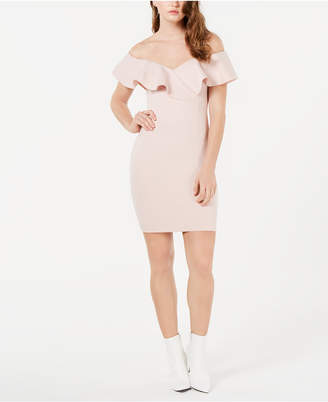 GUESS Shaye Ruffle-Trim Bodycon Dress
