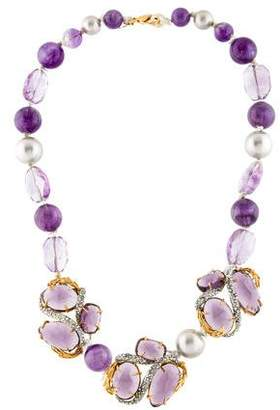 Alexis Bittar Amethyst, Faux Pearl & Crystal Necklace