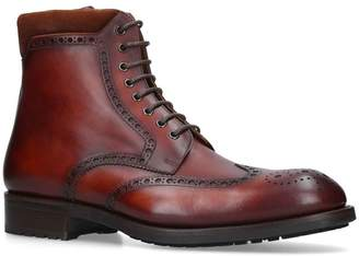 Magnanni Leather Brogue Boots