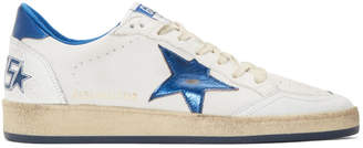 Golden Goose White and Blue Ball Star Sneakers