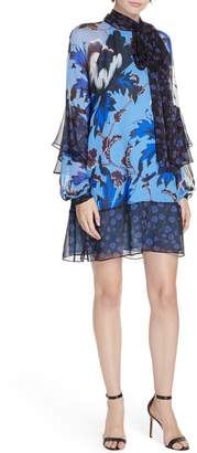 Diane von Furstenberg Effie Floral Print Silk Shift Dress