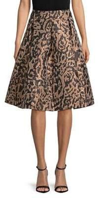 Eliza J Metallic Leopard Jacquard A-Line Skirt