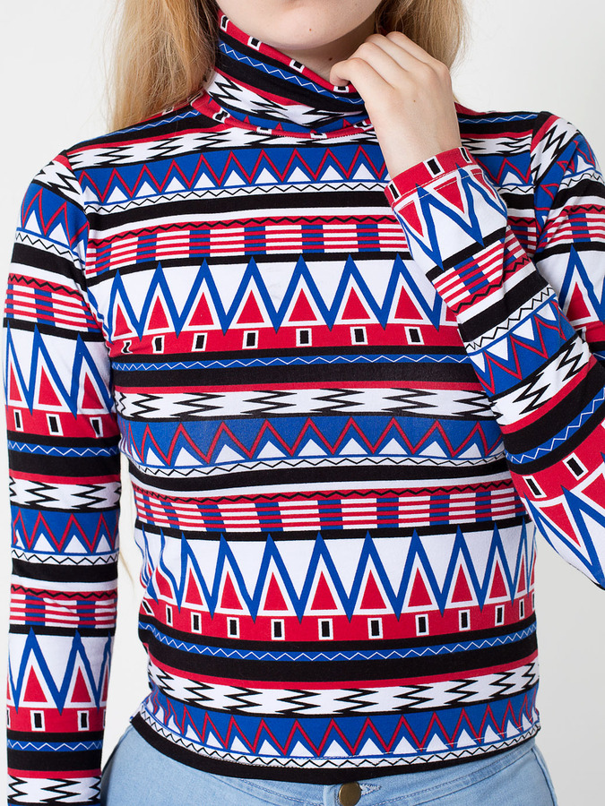 American Apparel Printed Cotton Spandex Jersey Long Sleeve Turtleneck