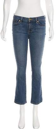 Tory Burch Distressed Mid-Rise Straight-Leg Jeans