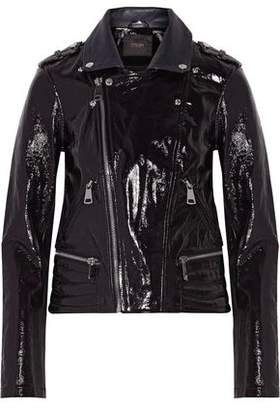 Maje Textured Patent-Leather Biker Jacket