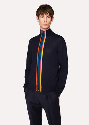 Paul Smith Men's Navy Merino-Wool 'Artist Stripe' Zip-Through Cardigan