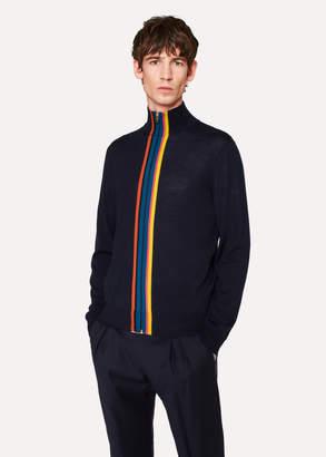 Paul Smith Men's Navy Merino-Wool 'Artist Stripe' Zip-Through Cardigan