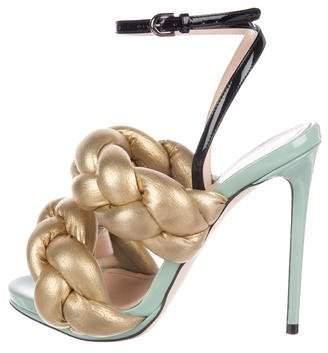 Marco De Vincenzo Patent Leather Braided Sandals