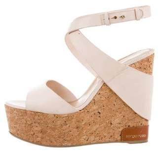 Sergio Rossi Leather Ankle Strap Wedges
