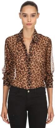 Zephyr Leopard Print Sheer Organza Shirt