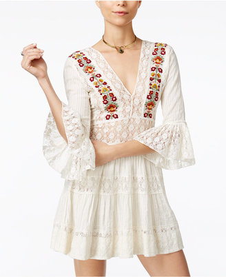 Free People Antiquity Lace-Contrast Mini Dress $168 thestylecure.com