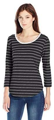 Lee Indigo Women's 3/4 Sleeve Stripe Knit Shirt With Lace Trim Neck