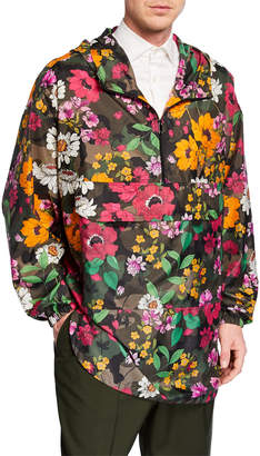 Valentino Men's Floral-on-Camo Wind-Resistant Jacket