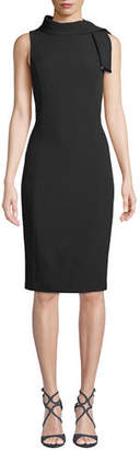 Badgley Mischka Tie-Neck Sleeveless Stretch Crepe Dress