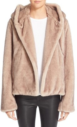 Women's Helmut Lang Faux Fur Hooded Coat $695 thestylecure.com