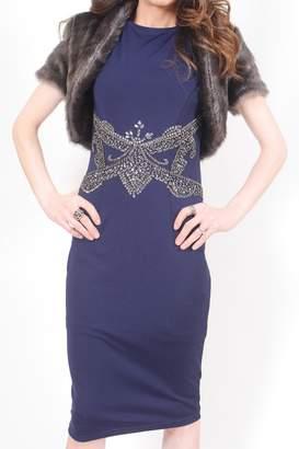 Little Mistress Navy Beaded Dress
