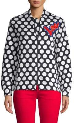 Love Moschino Outerwear Large Polka-Dot Bomber Jacket