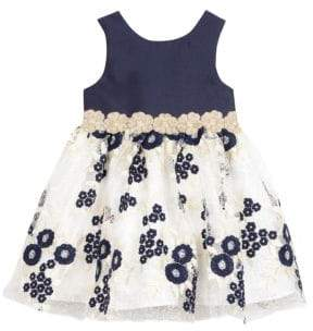Baby Girl's Floral Embroidered Lace Dress