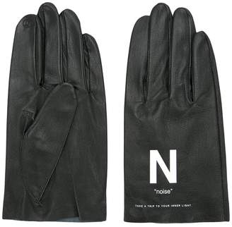 Undercover slogan printed gloves