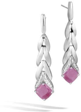 John Hardy Magic Cut Modern Chain Drop Earrings w/ Diamonds in Pink Sheen Sapphire
