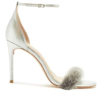 Rachel Zoe Everly Mink-Trimmed Heeled Sandals