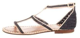 Carrie Forbes Raffia T-Strap Sandals