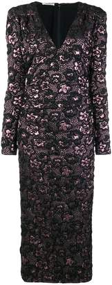 Miu Miu textured-flower plunge neck dress