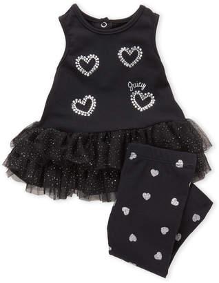 Juicy Couture Newborn Girls) Two-Piece Studded Heart Tutu Tank & Leggings Set