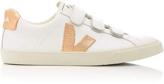 Veja Two-Tone Metallic Leather Sneakers