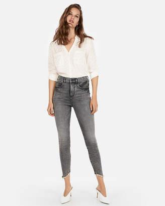 Express Petite Slim Fit Jacquard Dot Portofino Shirt